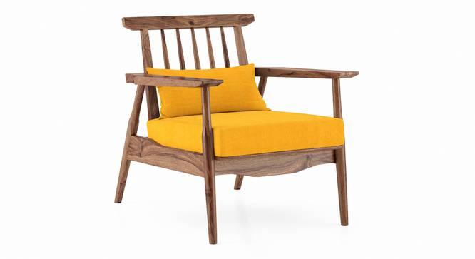 Ikeda Armchair (Teak Finish, Matte Mustard Yellow) by Urban Ladder - Cross View Design 1 - 334940