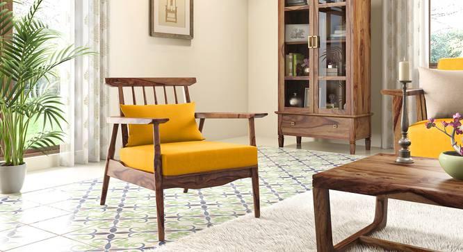 Ikeda Armchair (Teak Finish, Matte Mustard Yellow) by Urban Ladder - Full View - 334971