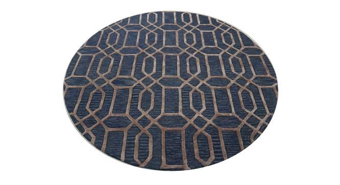 """Angelina Rug (Round Carpet Shape, Dark Blue, 150 x 150 cm  (59"""" x 59"""") Carpet Size) by Urban Ladder - Front View Design 1 - 335078"""