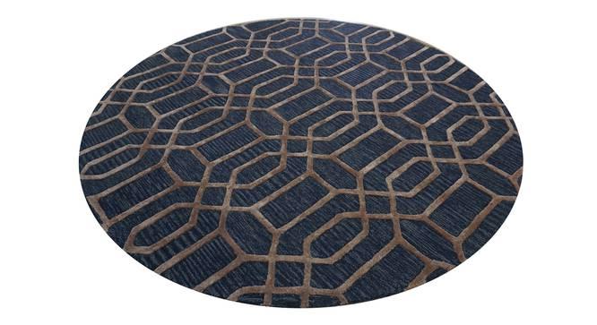 """Angelina Rug (Round Carpet Shape, Dark Blue, 150 x 150 cm  (59"""" x 59"""") Carpet Size) by Urban Ladder - Design 1 Half View - 335083"""