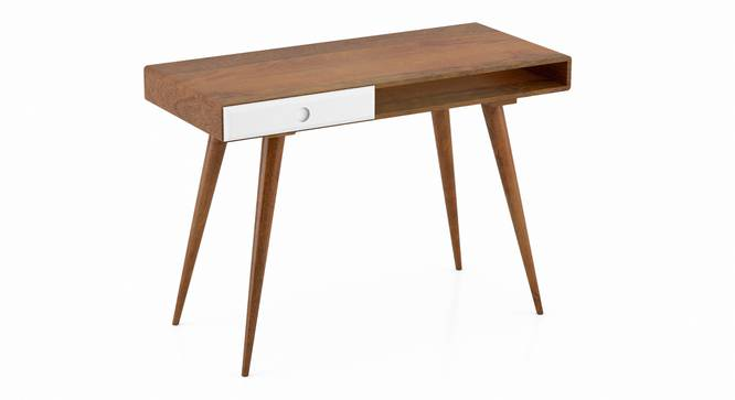 Roswell Study Desk (White, Amber Walnut Finish) by Urban Ladder - Design 1 Top View - 335258