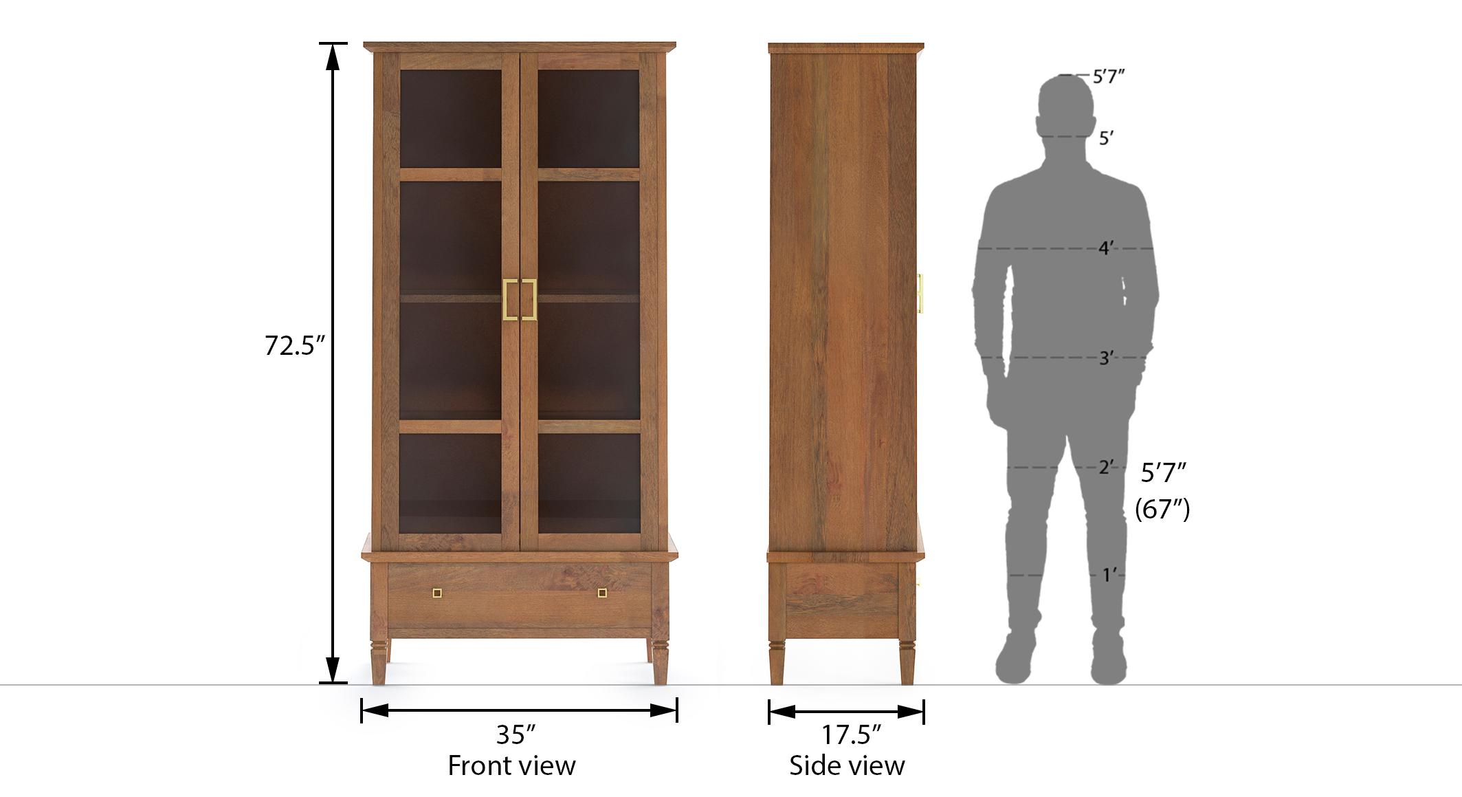Malabar bookshelf display cabinet 55 book capacity amber walnut finish 6