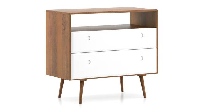 Roswell Chest Of Two Drawers (White) (Amber Walnut Finish) by Urban Ladder - Cross View Design 1 - 336118