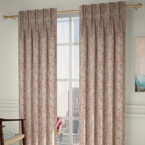 """Pazaz Window Curtains - Set Of 2 (Brown, 71 x 152 cm (28""""x60"""") Curtain Size, American Pleat) by Urban Ladder - Design 1 Full View - 338225"""
