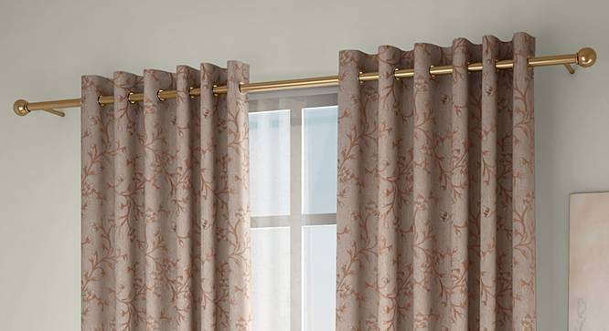 """Pazaz Door Curtains - Set Of 2 (Brown, 132 x 213 cm  (52"""" x 84"""") Curtain Size, Eyelet Pleat) by Urban Ladder - Design 1 Full View - 338228"""