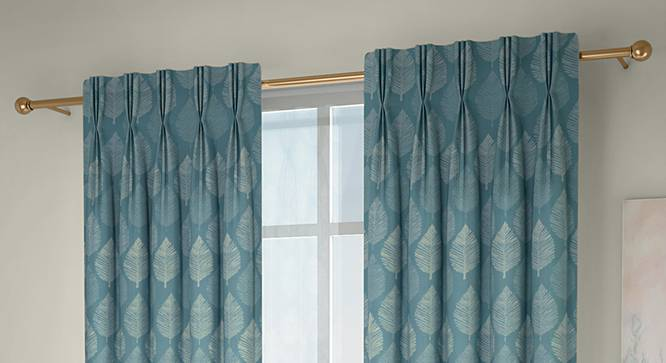 """Provencia Window Curtains - Set Of 2 (Turquoise, 71 x 152 cm (28""""x60"""") Curtain Size, American Pleat) by Urban Ladder - Design 1 Full View - 338256"""