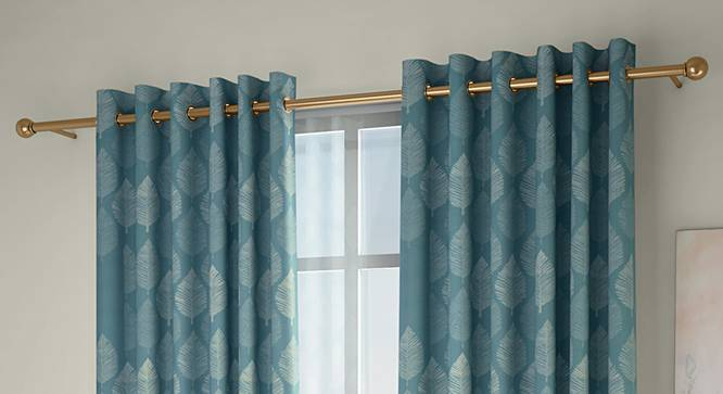 """Provencia Door Curtains - Set Of 2 (Turquoise, 132 x 213 cm  (52"""" x 84"""") Curtain Size, Eyelet Pleat) by Urban Ladder - Design 1 Full View - 338259"""