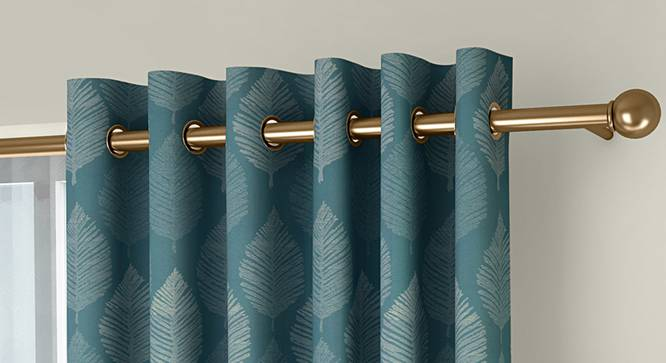 """Provencia Door Curtains - Set Of 2 (Turquoise, 132 x 274 cm  (52""""x108"""") Curtain Size, Eyelet Pleat) by Urban Ladder - Front View Design 1 - 338262"""