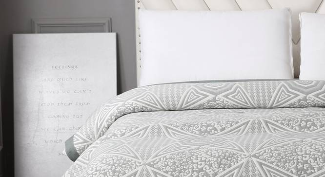 Matilda Bed Cover (Grey, Double Size) by Urban Ladder - Front View Design 1 - 338327