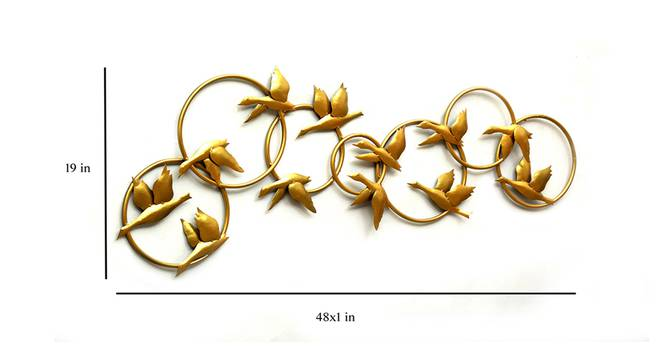 Zahi Bird Family Wall Decor (Gold) by Urban Ladder - Design 1 Dimension - 338623
