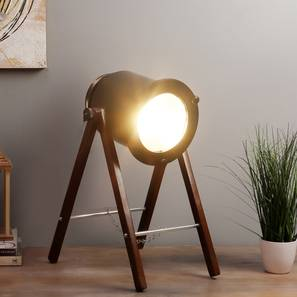 Cher Table Lamp (Black Shade Colour, Walnut) by Urban Ladder - Front View Design 1 - 338685