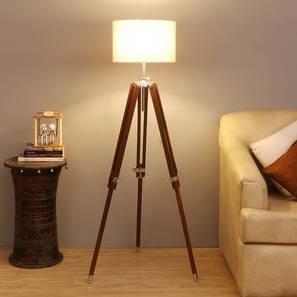 Margot Floor Lamp (Brown Shade Colour, Walnut) by Urban Ladder - Front View Design 1 - 338725