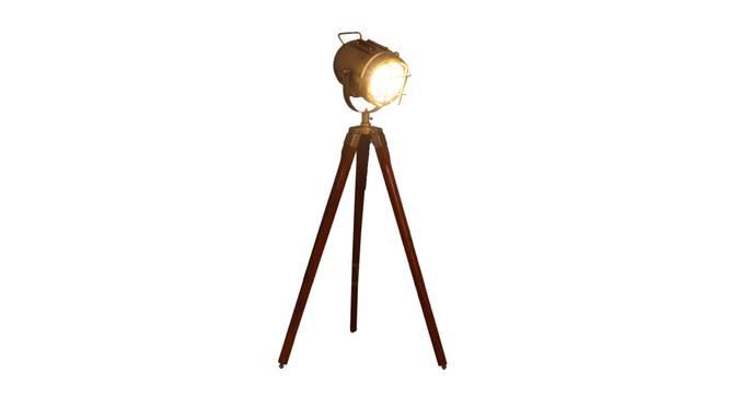 Mirabelle Floor Lamp (Walnut, Antique Brass Shade Colour) by Urban Ladder - Front View Design 1 - 338734