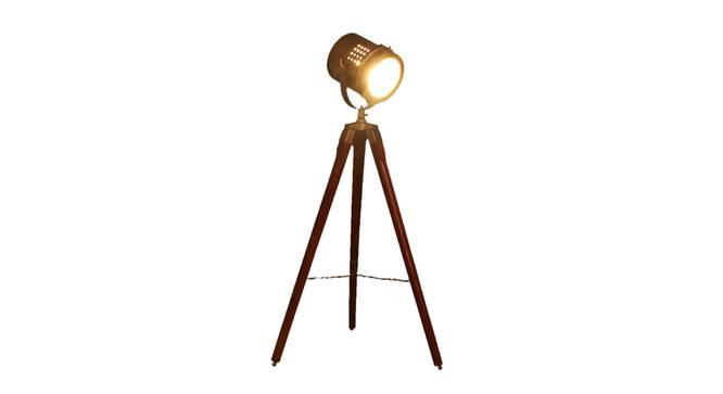 Oceane Floor Lamp (Walnut, Antique Brass Shade Colour) by Urban Ladder - Front View Design 1 - 338735