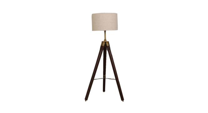 Yarine Floor Lamp (Brown Shade Colour, Walnut) by Urban Ladder - Front View Design 1 - 338761
