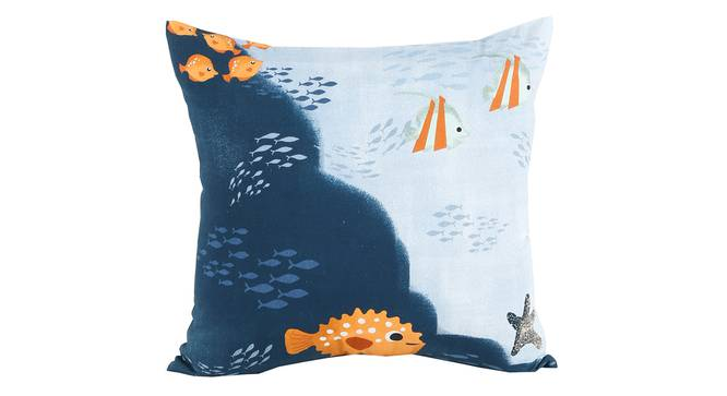"""Barrier Cushion Cover (Blue, 41 x 41 cm  (16"""" X 16"""") Cushion Size) by Urban Ladder - Front View Design 1 - 338902"""