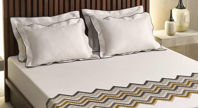 Ramona Bedsheet Set (Mustard, King Size) by Urban Ladder - Design 1 Half View - 339050