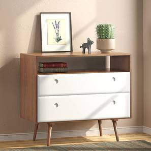 Roswell Chest Of Two Drawers (White) (Amber Walnut Finish) by Urban Ladder - Picture - 339721