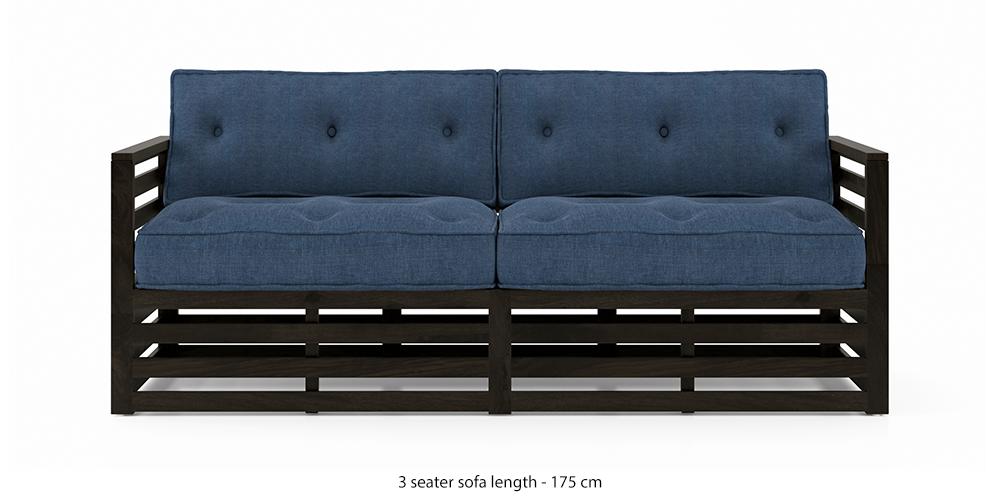 Raymond Wooden Sofa - American Walnut Finish (Midnight Indigo Blue) by Urban Ladder - -