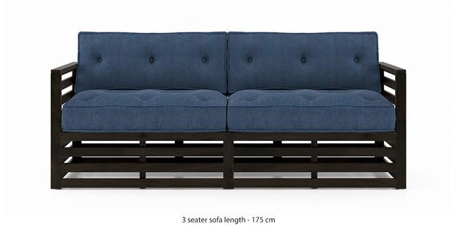 Raymond Wooden Sofa - American Walnut Finish (Midnight Indigo Blue) (3-seater Custom Set - Sofas, None Standard Set - Sofas, American Walnut Finish, Fabric Sofa Material, Regular Sofa Size, Regular Sofa Type, Midnight Indigo Blue)