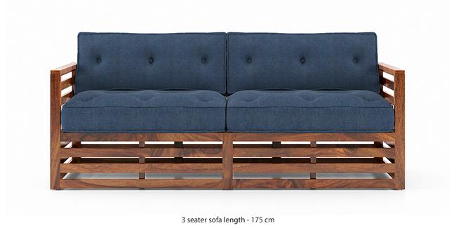Raymond Wooden Sofa - Teak Finish (Midnight Indigo Blue) (Teak Finish, 3-seater Custom Set - Sofas, None Standard Set - Sofas, Fabric Sofa Material, Regular Sofa Size, Regular Sofa Type, Midnight Indigo Blue)
