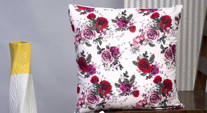 """Cordelia Cushion Cover - Set of 2 (Red, 41 x 41 cm  (16"""" X 16"""") Cushion Size) by Urban Ladder - Design 1 Half View - 339785"""