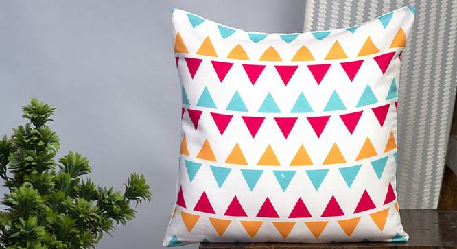 """Florian Cushion Cover - Set of 2 (Red, 41 x 41 cm  (16"""" X 16"""") Cushion Size) by Urban Ladder - Design 1 Half View - 339996"""