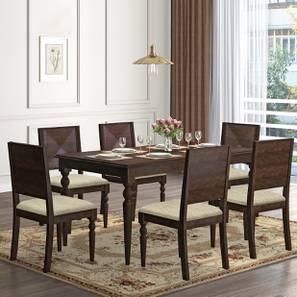 Mirasa 6 Seater Dining Set (Sandstorm) by Urban Ladder - Design 1 Full View - 340231