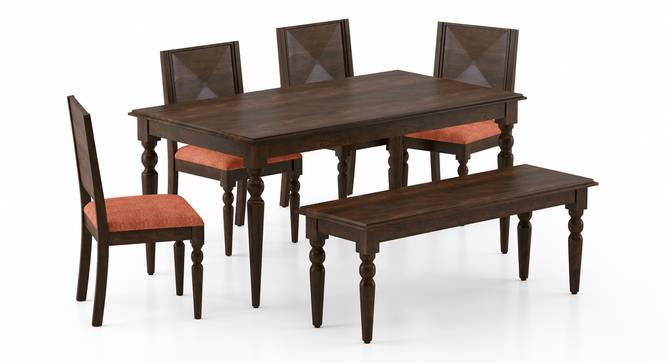 Mirasa 6 Seater Dining Set - (With Bench) (Lava) by Urban Ladder - Front View Design 1 - 340243