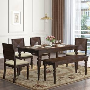 Mirasa 6 Seater Dining Set - (With Bench) (Sandstorm) by Urban Ladder - Design 1 Full View - 340253