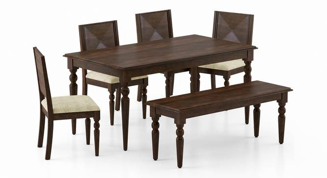 Mirasa 6 Seater Dining Set - (With Bench) (Sandstorm) by Urban Ladder - Front View Design 1 - 340254