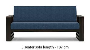Parsons Wooden Sofa - American Walnut Finish (Midnight Indigo Blue)