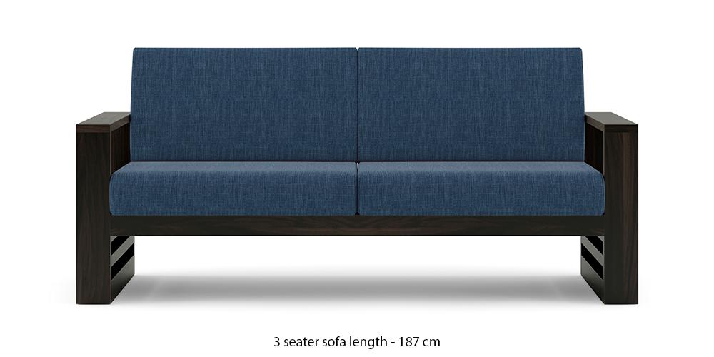 Parson Wooden Sofa - American Walnut Finish (Midnight Indigo Blue) by Urban Ladder - -