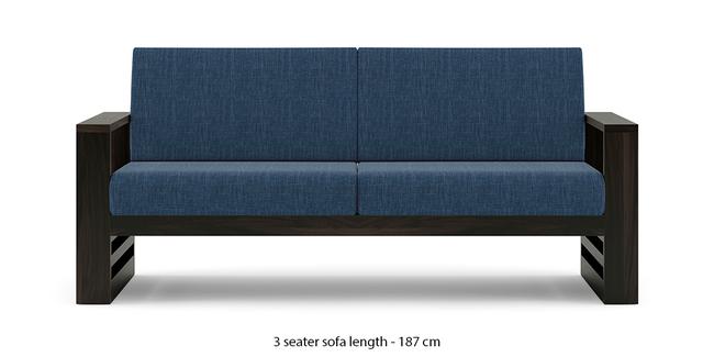 Parsons Wooden Sofa - American Walnut Finish (Midnight Indigo Blue) (1-seater Custom Set - Sofas, None Standard Set - Sofas, American Walnut Finish, Fabric Sofa Material, Regular Sofa Size, Regular Sofa Type, Midnight Indigo Blue)
