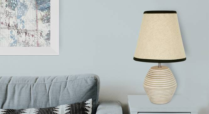 Atury Table Lamp (Cream, White Shade Colour, Cotton Shade Material) by Urban Ladder - Design 1 Half View - 340309