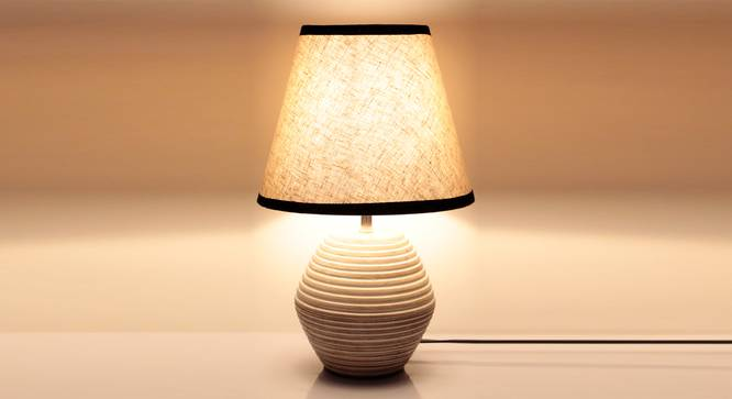 Atury Table Lamp (Cream, White Shade Colour, Cotton Shade Material) by Urban Ladder - Front View Design 1 - 340317