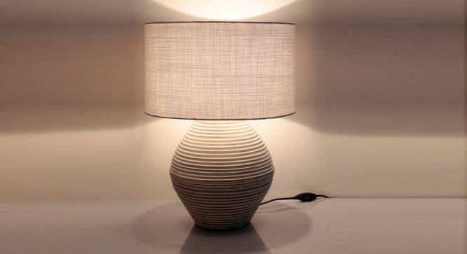 Atury Table Lamp (Cream, White Shade Colour, Cotton Shade Material) by Urban Ladder - Front View Design 1 - 340318