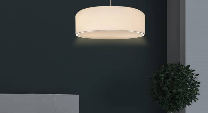 Oberon Pendant Light (White, Cotton Shade Material, White Shade Color) by Urban Ladder - Design 1 Half View - 340444