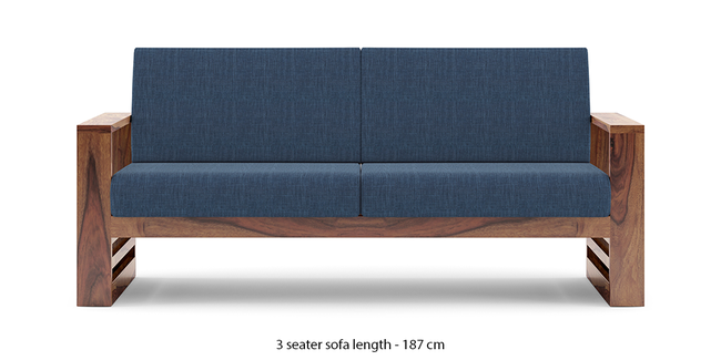 Parsons Wooden Sofa - Teak Finish (Midnight Indigo Blue) (Teak Finish, 1-seater Custom Set - Sofas, None Standard Set - Sofas, Fabric Sofa Material, Regular Sofa Size, Regular Sofa Type, Midnight Indigo Blue)