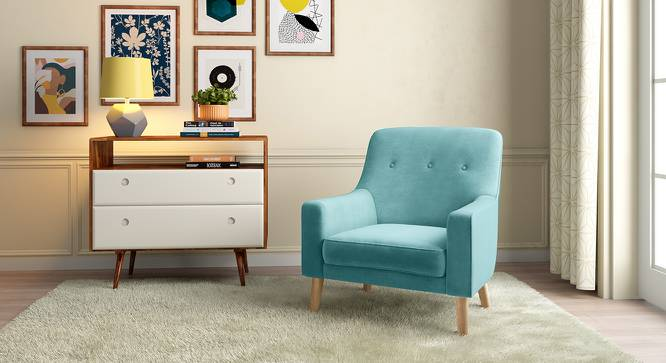 Hagen Lounge Chair (Icy Turquoise Velvet) by Urban Ladder - Full View Design 1 - 348562