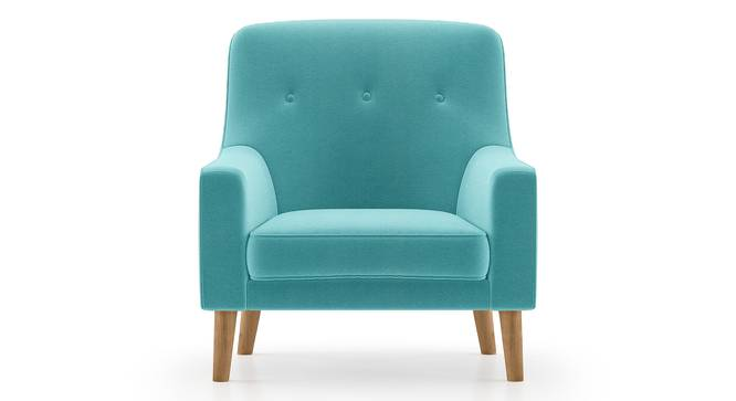 Hagen Lounge Chair (Icy Turquoise Velvet) by Urban Ladder - Front View Design 1 - 348563