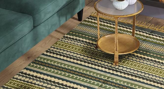 "Alysiah Dhurrie (Green, 120 x 180 cm  (47"" x 71"") Carpet Size) by Urban Ladder - Design 1 Half View - 348575"