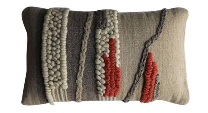 "Brayden Cushion Cover (Light Grey, 60 x 35 cm  (24"" X 14"") Cushion Size) by Urban Ladder - Front View Design 1 - 348611"