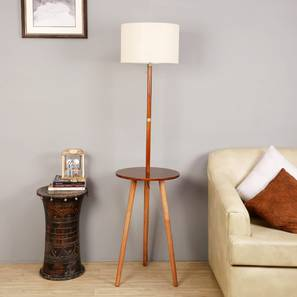 Faraday Floor Lamp with Side Table (Natural Linen Shade Colour, Light Walnut Base Finish) by Urban Ladder - Full View Design 1 - 348997