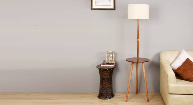Faraday Floor Lamp with Side Table (Natural Linen Shade Colour, Light Walnut Base Finish) by Urban Ladder - Half View Design 1 - 348996