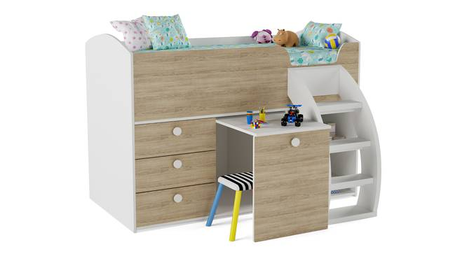 Fun House Loft Bed By Boingg! (White, Matte Finish) by Urban Ladder - Design 1 Side View - 349282