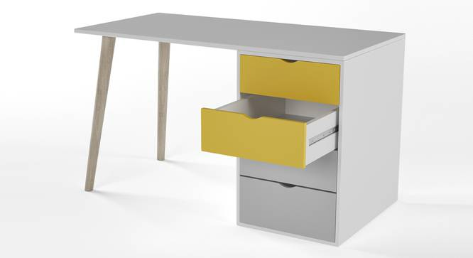 Philosopher Study Table By Boingg! (Yellow, Matte Finish) by Urban Ladder - Design 1 Side View - 349602