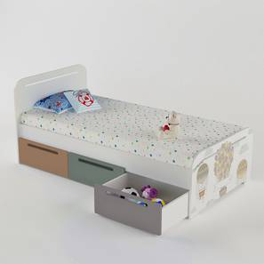 Simply Perfect Storage Bed By Boingg! (Light Grey, Matte Finish) by Urban Ladder - Design 1 Side View - 349712