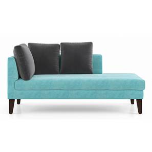 Sigmund Day Bed (Right Aligned, Icy Turquoise Velvet) by Urban Ladder - Front View Design 1 - 350184