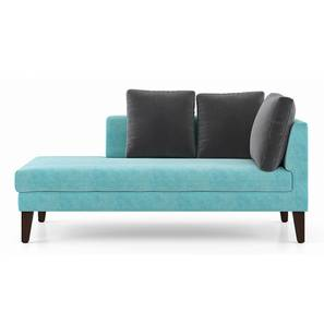 Sigmund Day Bed (Left Aligned, Icy Turquoise Velvet) by Urban Ladder - Front View Design 1 - 350190